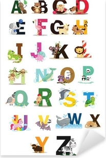 Pixerstick Sticker Animal Letter Vector Set