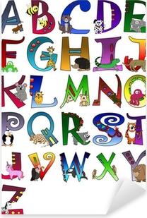 Animal Themed Alphabet Poster A - Z Poster Pixerstick Sticker