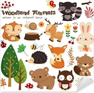 Animal woodland vector set Pixerstick Sticker