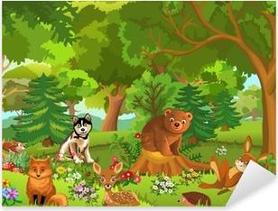 Sticker Pixerstick Animaux mignons vivant dans la forêt