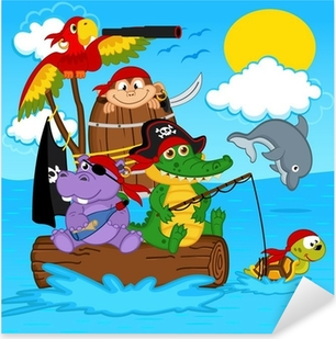 Sticker Pixerstick Animaux pirates - illustration vectorielle, eps