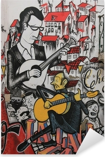 Pixerstick Sticker Anonieme graffiti toont zanger traditionele Portugese fado.