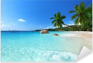 Anse Lazio beach at Praslin island, Seychelles Pixerstick Sticker
