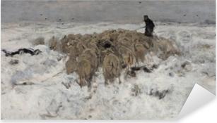 Pixerstick Sticker Anton Mauve - Stádo ovcí s pastýřem ve sněhu