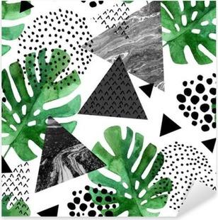 Pixerstick Sticker Aquarel tropische bladeren en getextureerde driehoeken achtergrond