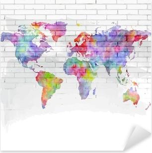 Pixerstick Sticker Aquarel wereldkaart op een bakstenen muur