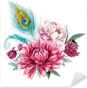 Sticker Pixerstick Aquarelle Composition florale
