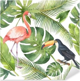 Sticker Pixerstick Aquarelle transparente motif de noix de coco et de palmiers isolés sur fond blanc.