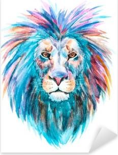 Sticker Pixerstick Aquarelle vecteur lion