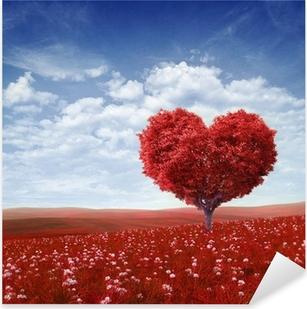 Sticker Pixerstick Arbre en forme de cœur, Saint Valentin fond,