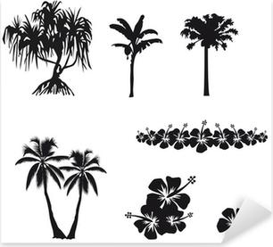 Pixerstick Sticker Arbres tropicaux et hibiscus en ombre chinoise