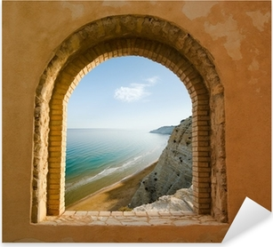 arched window on the coastal landscape of a bay Pixerstick Sticker