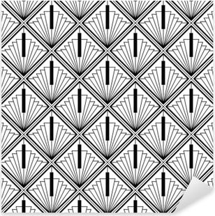 Sticker Pixerstick Art déco monochrome sans couture arabe noir