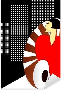 Pixerstick Sticker Art Deco stijl Poster, met een elegante jaren 1930 Vrouw