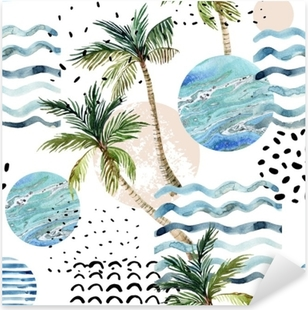 Art illustration with palm tree, doodle and marble grunge textures. Pixerstick Sticker