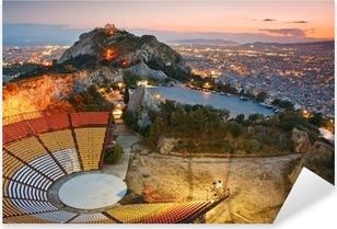 Sticker Pixerstick Athènes au coucher de soleil depuis la colline Likabetus.