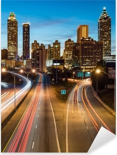 Sticker Pixerstick Atlanta horizon du centre-ville pendant l'heure bleue crépuscule