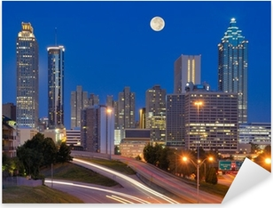 Atlanta Skyline under Full Moon Pixerstick Sticker