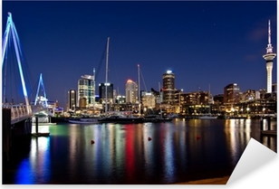 Auckland, New Zealand, Skyline at Night with Bridge Pixerstick Sticker