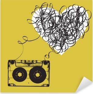Sticker Pixerstick Audiocassette avec du ruban emmêlés. forme Haert
