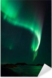 Sticker Pixerstick Aurores boréales sur le lac gelé Myvatn en Islande