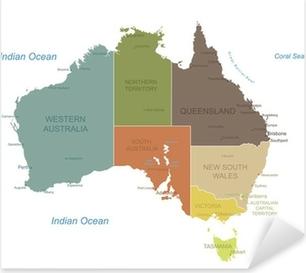 Pixerstick Sticker Australië-zeer gedetailleerde map.Layers gebruikt.