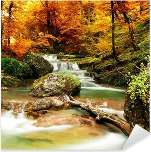 Autumn creek woods with yellow trees Pixerstick Sticker