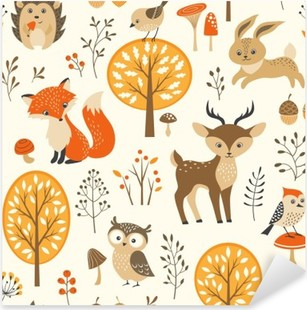 Autumn forest seamless pattern with cute animals Pixerstick Sticker