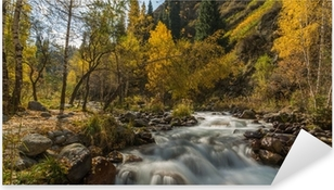 autumn landscape mountain river Pixerstick Sticker