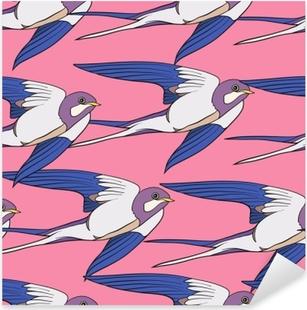Sticker Pixerstick Avaler, les oiseaux. modèle sans couture coloré, arrière-plan.