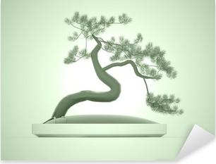 Pixerstick Sticker Aziatische bonsai boom op groene