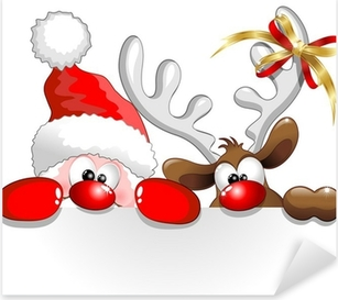 Babbo Natale e Renna-Santa Claus and Reindeer Background Pixerstick Sticker