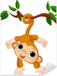 Pixerstick Sticker Baby aap op een boom