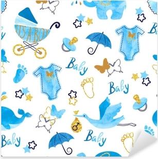 Baby shower boy seamless pattern. Vector watercolor kids background. Pixerstick Sticker