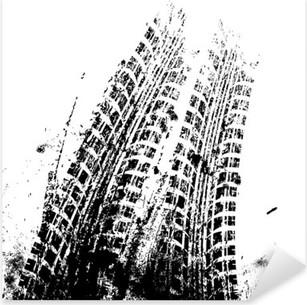 Background with grunge black tire track , vector Pixerstick Sticker