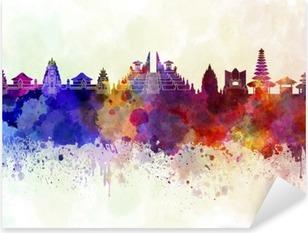 Bali skyline in watercolor background Pixerstick Sticker
