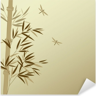 Bamboo with dragonflies in Chinese painting style Pixerstick Sticker