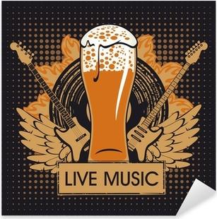 Sticker Pixerstick Bannière de la pub avec musique live
