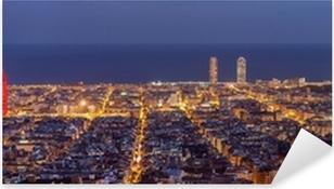 Sticker Pixerstick Barcelona skyline panorama de nuit