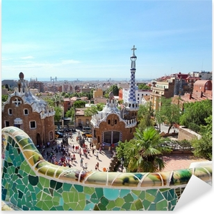 Pixerstick Sticker BARCELONA, Spanje: Het beroemde Park Guell