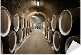 Barrels in the wine cellar Pixerstick Sticker