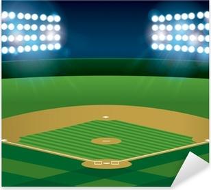 Baseball Softball Field Lit at Night Pixerstick Sticker