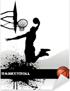Pixerstick Sticker Basketbal wedstrijd op grunge achtergrond