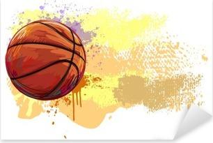 Pixerstick Sticker Basketball Banner .__ Alle elementen zijn in verschillende lagen en gegroepeerd. __