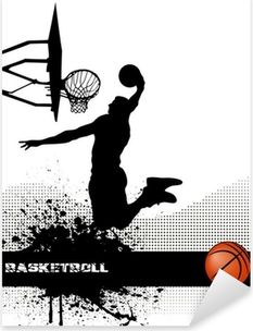 basketball match on grunge background Pixerstick Sticker