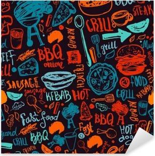 Pixerstick Sticker BBQ Barbecue Grill Doodle naadloze patroon. Kleurrijke BBQ ontwerp met de hand getekende letters voor het verpakken, banners en promotie.