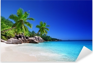 beach at Praslin island, Seychelles Pixerstick Sticker