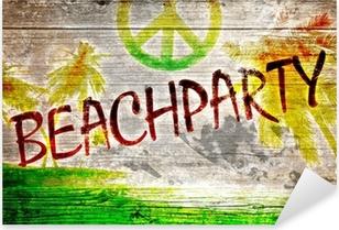 Beachparty Grafitti auf altem Holzbrett Pixerstick Sticker