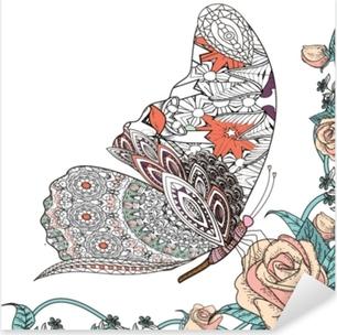 Sticker Pixerstick Beau papillon à colorier