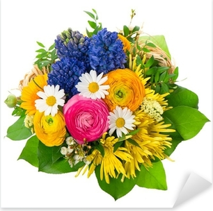 beautiful bouquet of colorful spring flowers Pixerstick Sticker